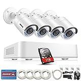 ANNKE POE Überwachungskamera Set, 1080P 4CH POE NVR + 4 * 960P IP Kamera mit 1TB Festplatte,Nachtsicht Bewegungserkennung überwachungssysteme