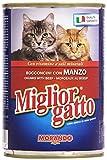Migliorgatto - Bocconcini con Manzo, con Vitamine e Sali Minerali - 24 pezzi da 405 g [9720 g]