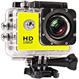 JIUSION Yellow, Cam Plus 16G MicroSD: 1080P Full HD Video Action Sport Mini Camera Waterproof Case DV Water Resistant Cam Underwater Diving 5MP Lens Camcorder