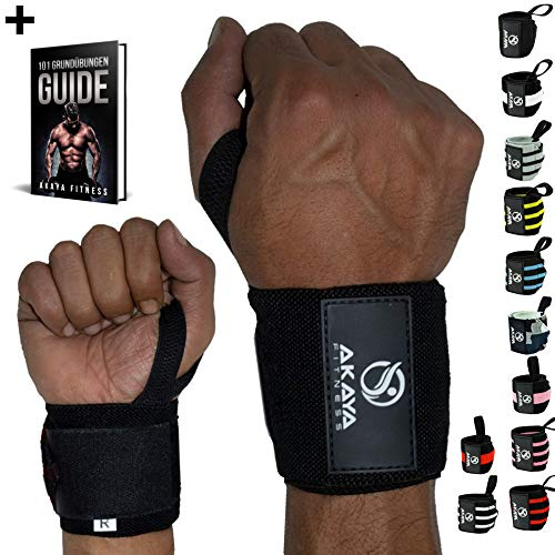 AKAYA Handgelenk Bandagen + Gratis eBook & Anleitung | Wrist Wraps 45 cm Länge | Handgelenkbandage für Fitness, Kraftsport, Bodybuilding & Crossfit - für Frauen und Männer geeignet | Schwarz