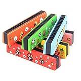 HshDUti 16 trous enfants double rangée bois Harmonica Instruments de musique Jouet éducatif Multicolor
