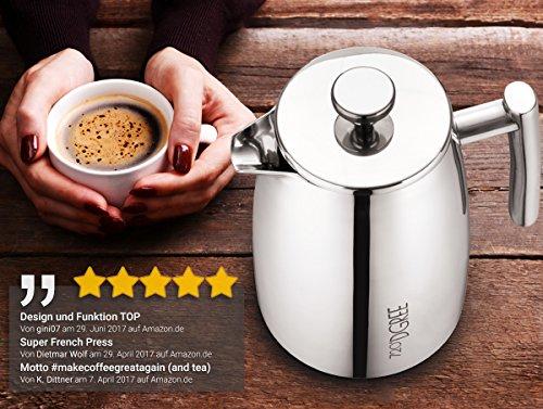 """French Press """"FRENCH SUNRISE"""" 950ml von 720°DGREE für den Höchsten Kaffeegenuss, DER Premium Kaffeebereiter aus Edelstahl mit permanent Filter / Sieb, Elegante Kaffeekanne, Bis zu 8 Tassen Kaffee, Doppelwandiges Design mit Thermo Funktion, Auch Perfekt für losen Tee, Teebereiter, Teekanne -"""