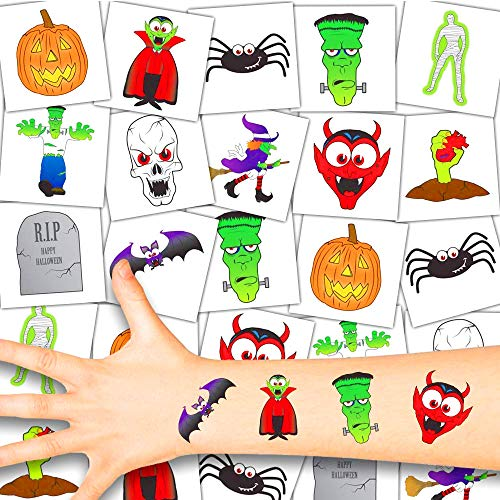German Trendseller® - 72 Tattoo Set für Kinder | Halloween | Kinder | Tattoos | 72 Stück (Halloween Party Zeug)