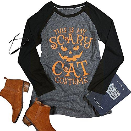 Vin beauty Halloween Beängstigende Katzen Kostüm Baseball Frauen Casual T Shirt Brief gedruckt Top O Ansatz Raglanärmeln