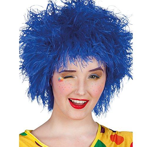 PARTY DISCOUNT ® Perücke Frizzy, Strubbel-Look, blau