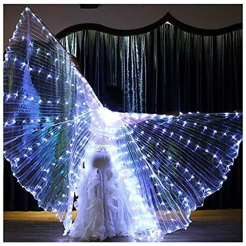 t Wings, Bauchtanz mit weißen Flügeln, geeignet für Bühnenauftritte, Halloween, Maskerade, Karneval, Weihnachten ()