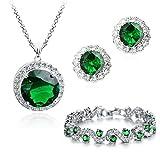 18 ct Chapado en oro Crystals from Swarovski verde esmeralda...