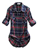 Match Donna Flanella Plaid Camicia #B003(2021 Checks#10,X-Large)