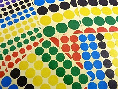 De Color Pegatinas Circulares, Círculo, Redondo color Etiquetas Adhesivas, 3 sizes