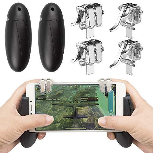 Preisvergleich Produktbild Mobile Game Controller,  EAONE 2 Paar Zielauslöser Fire Buttons Sensitive Shoot Joysticks mit 1 Gampad für PUBG / Regeln des Survivals / Messer Out Game Pad passend für iOS und Android 11, 5-16, 5 Zoll