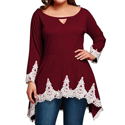 ❤️• •❤️Blusen Tops Luckycat Heißer Verkauf Mode Damen Shirts Blusen Tops Large Size Damen Damen Lace Long T-Shirt Langarm Tops Bluse Shirts Blusen Tops (Rot, XXXXXL) (Flanell Kurze Ärmel)