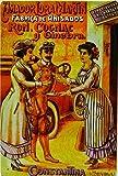 Affiche Poster publicitaire de plaque métallique avec dessin retro vintage de la Catalogne / l'Espagne. Tin sign. 30 cm x 20 cm (COGNAC CHOFER)