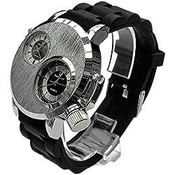 QBD Herren Armbanduhr Groß. DUAL TIME zones- Big 5cm Zifferblatt-Lange 18-24cm-strap- (Silber Face/Gummi)