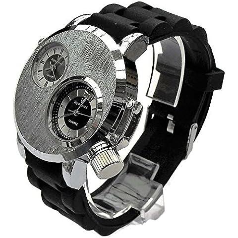 QBD orologio da uomo grande. Dual Time zones- Big quadrante di 5cm, lunghezza 18–24cm-strap- (Argento Viso/gomma)