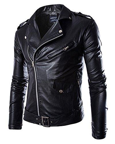 Chaqueta de Motociclista con Cinturón para Hombre Abrigo de Punk en Imitación Cuero Piel Negro M