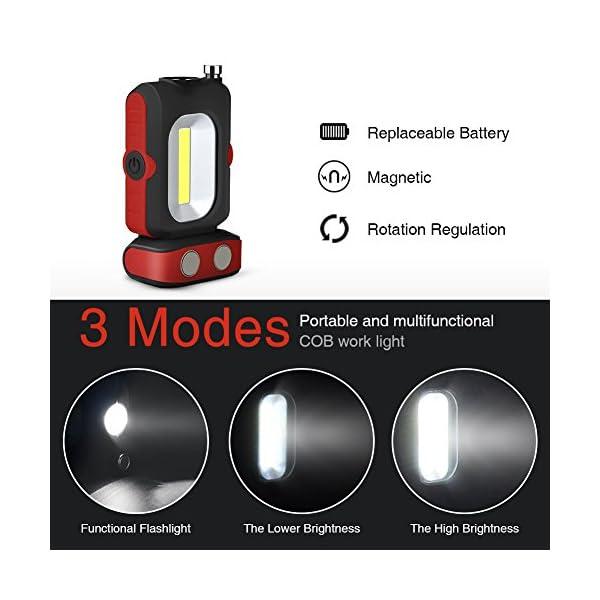 WOOPHEN Lampada da Lavoro a LED Portatile, Torcia Multiuso COB, Base Magnetica, a Batteria con Illuminazione da 5000K, per Riparazioni Auto, Campeggio, Blackout ed Emergenze 2 spesavip