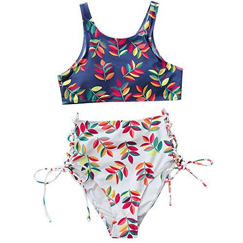 ZXCVBW Leaf Print Tank Bikini Set Damen Slim High-Waist Schnürung Zweiteiler Bademode 2019 Mädchen Sexy Beach Badeanzüge, Blau, XL - Leaf Print Tank