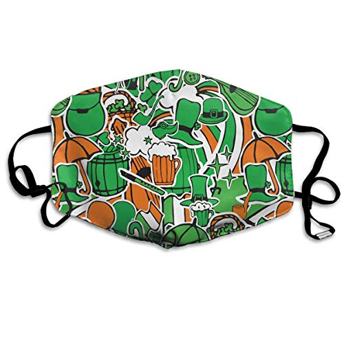 Erwachsene, Mask Face, Mouth Mask, Breathable Mask Anti Dust, Unisex St. Patrick's Day Ireland Beer Hat Printed Cotton Mouth-Masks Face Mask Polyester Anti-dust Masks ()