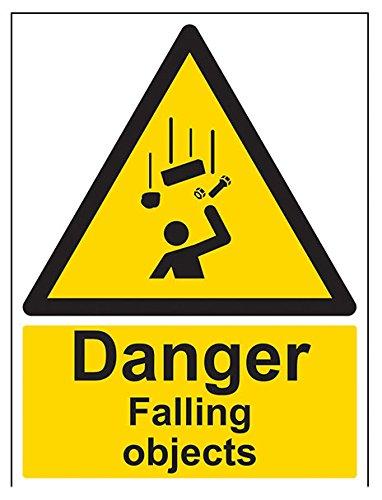 """vsafety 63016bc-s""""Danger Falling Objekte"""" Achtung General-Zeichen, selbstklebend, Porträt, 300mm x 400mm, schwarz/gelb"""