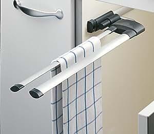 hailo 3132101 handtuchhalter secco alu line 2 armig ausziehbar k che haushalt. Black Bedroom Furniture Sets. Home Design Ideas