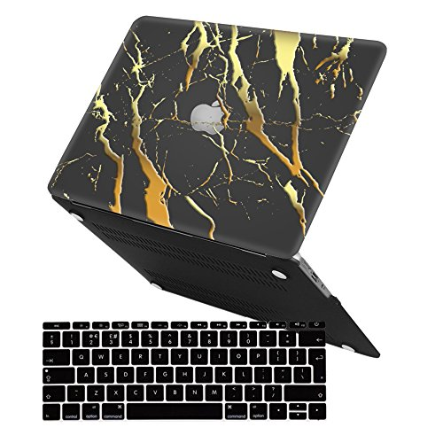 iCasso Case MacBook Air 13 Hülle Ultra Slim Dünn Kratzfeste Matt Rutschfest Hartschale Kunststoff Schutzhülle Snap Case für MacBook Air13 (MacBook Air 13 inch, Black Gold Marble) Ultra Slim Hardshell