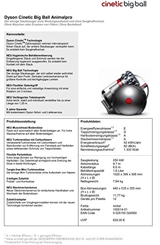 Dyson Cinetic Big Ball Animalpro EEK E (beutellos, für Teppich und Hartböden inkl. Zubehör)nickel - 3
