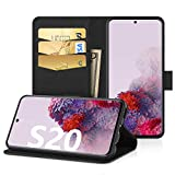 EasyAcc Case for Samsung Galaxy S20, Leather Wallet Case Protector Flip Cover with Kickstand Card Holder Card Slots Black PU Leather for Samsung Galaxy S20 6.2''