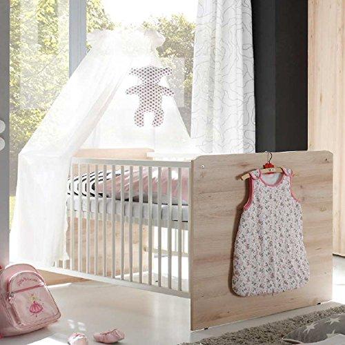 babyzimmer kinderzimmer komplett set elisa 1 in eiche sonoma wei komplettset mit. Black Bedroom Furniture Sets. Home Design Ideas