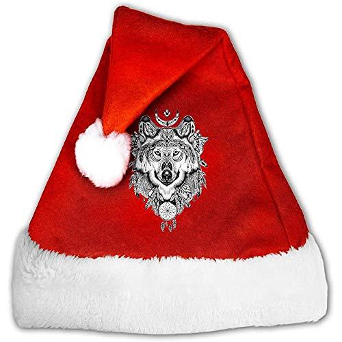 Kenice Weihnachtsmann Hut,Santa Claus Mütze,Weihnachtsmützen,Rot Weihnachten Hüte,Stammes-Wolf-Party-Dekoration,Weihnachtsmann Mütze,Xmas Holiday Hat S -