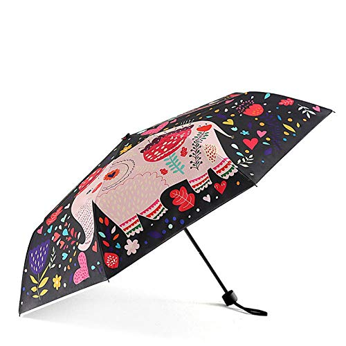 AJIAO Paraguas Paraguas Plegable Lindo Mini Compacto Ligero Paraguas de Viaje Lluvia Mujeres Hombres Impermeable UV Protector Parasol, Elefante Negro