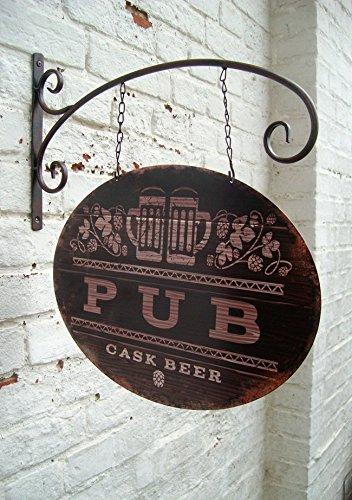 Metallschild PUB / Beer - BAR mit Wandhaken und Kette, Eisen lackiert