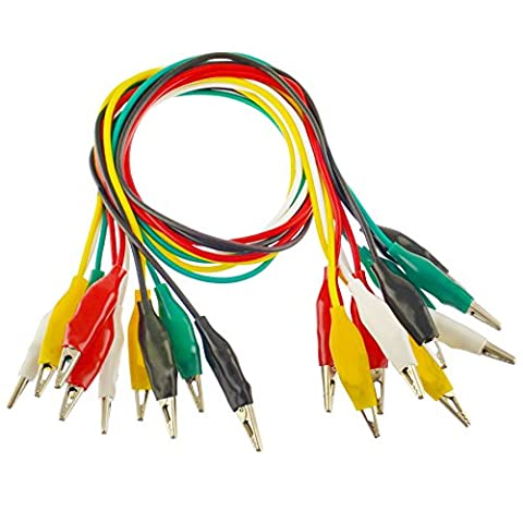 50cm Coloured Test Leads With 25mm Crocodile Alligator Clips 10 leads 5 colours