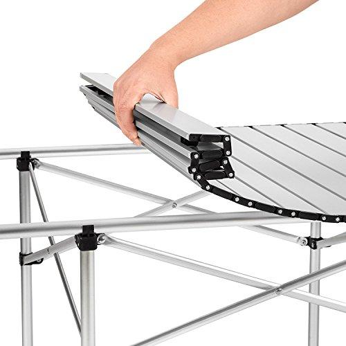 Tavolo Campeggio Alluminio Avvolgibile.Tavolo Da Campeggio Varie Misure Alzata Avvolgibile Regolabile In Altezza Pieghevole Arrotolabile Tavolo Per Picnic Tavolo Per Fiere Tavolo