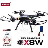 Yacool ® Syma X8W WiFi real Tiempo Vídeo 2.4G 4 canales 6 Eje Venture con cámara RC Quadcopter FPV (negro) 2015 NUEVA LLEGADA+ extra 2000mAh batería