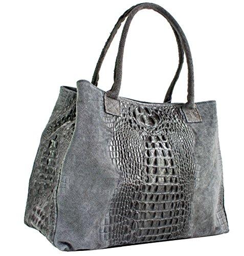 Echt Leder Damentasche Shopper Ledertasche Schultertasche Wildleder (dunkelbraun) Grau