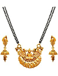BFC-Gold Mahalaxmi Sitting On Lotus Peacock Designer Mangalsutra With 24 Inches Long Chain For Woman