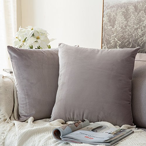 Miulee Pack de 2, terciopelo suave juego de mesa de manta de decoración cuadrado fundas de almohada Funda de cojín para sofá dormitorio coche 18 * 18 pulgada 45 * 45 cm Heart Wood