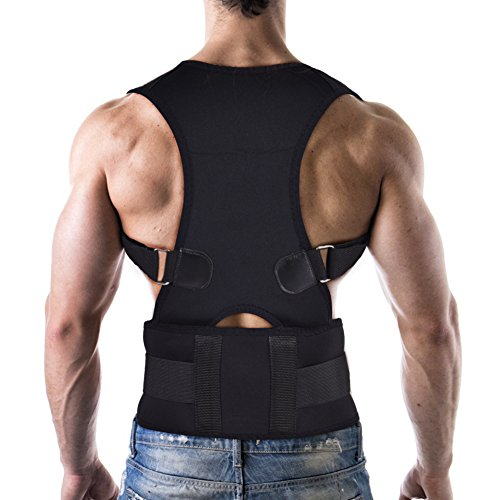 Haltungskorrektur Geradehalter Ultradünn Atmungsaktiv Superelastisch Rückenbandage zur Schulter Rücken Taille für Männer und Frauen (Taillenumfang für 80cm-120cm)(L-Schwarz) (Schultergurt Verstellbarer Features)