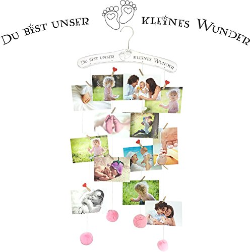 endlosschenken Fotogirlande rosa Baby Bilderrahmen Collage für Mädchen Geburtstag Geschenk zur Geburt