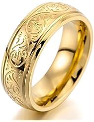 MunkiMix 7mm Acero Inoxidable Anillo Ring Banda Venda Oro Dorado Grabado Florentino Diseño Encanto Atractivo Elegante Hombre