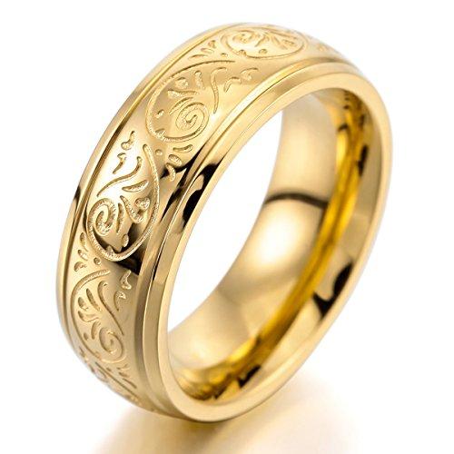 Munkimix 7mm acciaio inossidabile anello anelli banda oro tono inciso fiorentino progettazione dimensioni 17 uomo