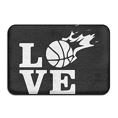 Not afraid Love Basketball Fire Non-Slip Outside/Inside Floor Mat for Health and Wellness Bathroom Bathroom Doormat 23.6