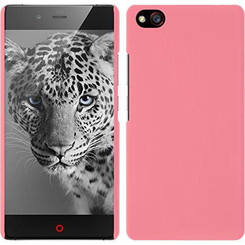 PhoneNatic Case kompatibel mit ZTE Nubia Z9 Max - Hülle rosa gummiert Hard-case + 2 Schutzfolien