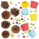 Tannenzapfen-Bastelset Weihnachtsbaum mit Pompons für Kinder als Bastel- und Deko-Idee zu Weihnachten für Jungen und Mädchen (6 Stück)