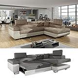 Moebel89 Große Couch Anton in beige/cappuccino L-Form, Farbe wie abgebildet, Ottomane rechts/Ecksofa, Eckcouch, Wohnlandschaft, Schlafsofa in BxTxH: 275 cm x 202 cm x 90 cm