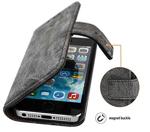 Custodia iPhone 5s, Custodia SE Portafoglio, SsHhUu PU Leather Case [Slot per schede] in Pelle Morbida Protettiva Flip Chiusura Magnetica Portafoglio Cover Case per Apple iPhone 5s / 5 / SE (4.0) Blu Grigio