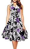 PhilaeEC 1950s 60s Style Belted Floral Retro Éclater Robe Balançoire Robe (Purple, 2XL)