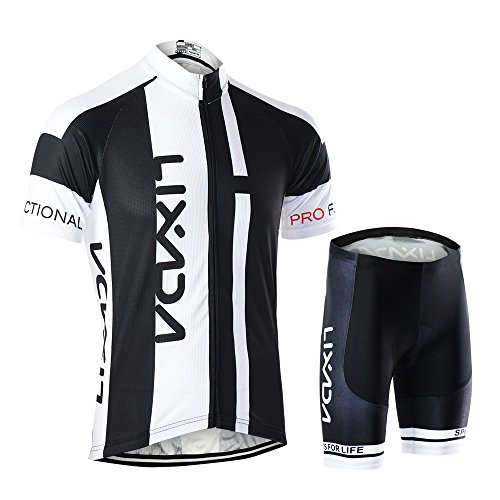 Lixada Breathable Quick Dry Lightweight Comfortable Men Short Sleeve Jersey + Padded Shorts Cycling Suit Clothing Set Riding Sportswear
