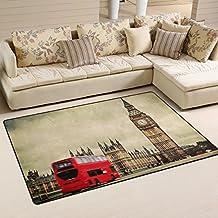 coosun Londres Reino Unido autobús rojo y Big Ben área alfombra alfombra alfombra de suelo antideslizante Doormats para salón o dormitorio, tela, multicolor, 60 x 39 inch
