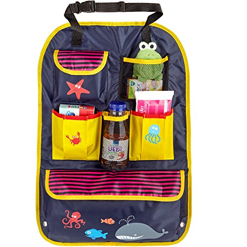 CARTO Rücksitztasche, bunt bedruckt mit vielen Fächern, wasserabweisend, ideal als Reisebegleiter für Kinder - Autositz-Organizer/Rückenlehnen-Schutz/Kick Mat -